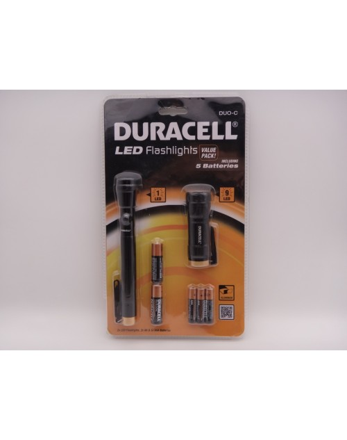 Duracell DUO-C pachet 2 lanterne LED 1 AA + LED 9 AAA metalice