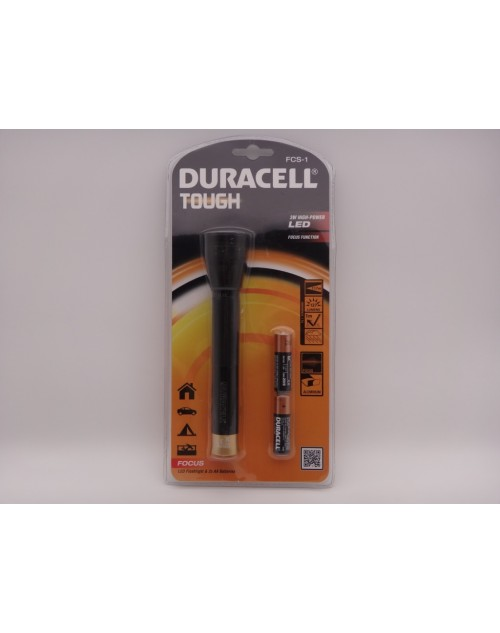 Duracell FCS-1 lanterna led 3W metalica Tough cu 2 baterii x AA R6 incluse