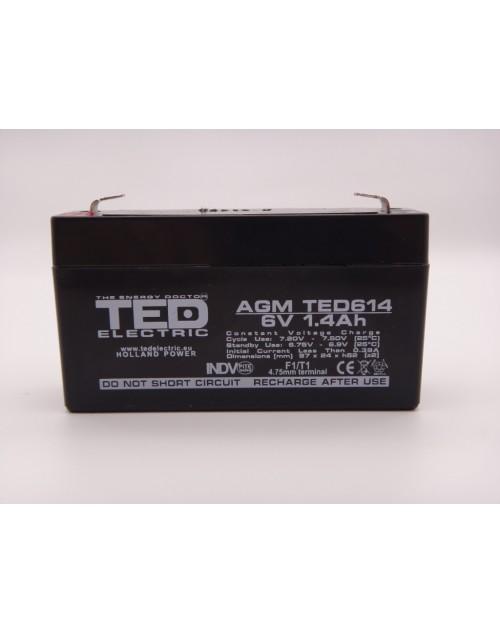 Acumulator 6V 1.4Ah VRLA AGM 97mm x 24mm x 52mm F1